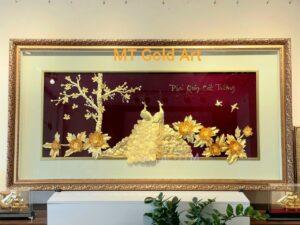 Tranh đôi chim công và hoa mẫu đơn dát vàng 24k
