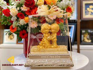 Tượng cô dâu chú rể dát vàng lá 24k
