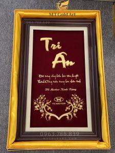 Tranh chữ tri ân dát vàng lá 24k - Món quà tặng doanh nghiệp