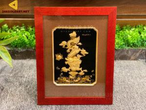 Tranh rồng dát vàng để bàn KT 27x34cm
