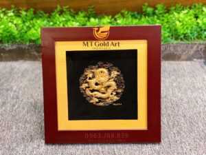 Tranh rồng dát vàng 24x24cm