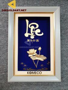 Tranh chữ Lộc hoa sen dát vàng lá 24k