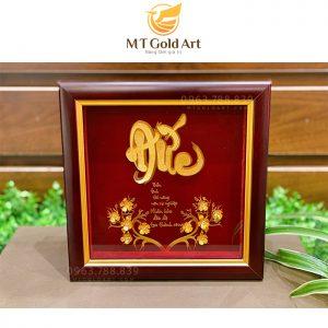 Tranh chữ Đức hoa mai dát vàng lá 24k