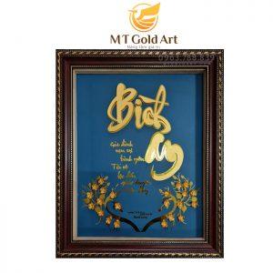 Tranh chữ bình an dát vàng 24k - Món quà ý nghĩa dịp tết nguyên đán