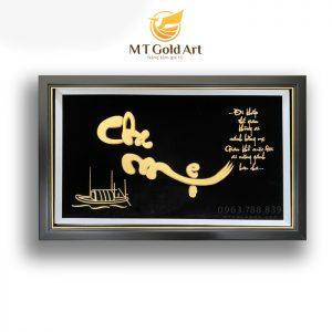 Tranh chữ Cha Mẹ thư pháp dát vàng 24k