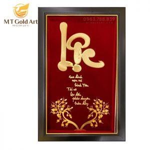 Tranh thư pháp chữ Lộc hoa mai dát vàng 24k