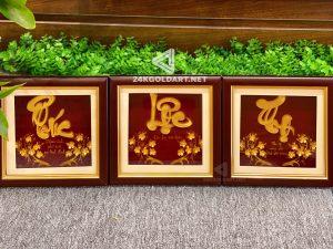 Tranh chữ Phúc - Lộc - Tho thư pháp dát vàng lá 24k