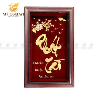 Tranh chữ thư pháp dat vàng 24k - quà tặng đối ngoại cao cấp